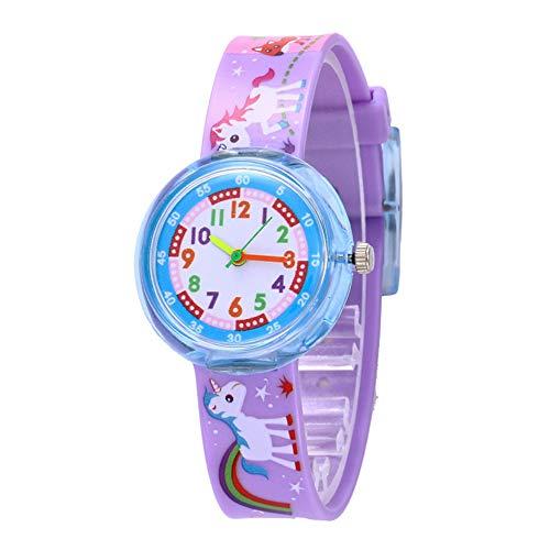 Relojes Unicornio Lindo Niñas Relojes Animal Arcoiris Reloj Niños Silicona Púrpura Colorido