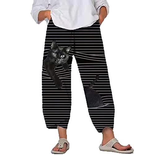 Pantalones Casuales De Mujer Pantalones Recortados con PatróN De Moda Animal De Dibujos Animados 3D