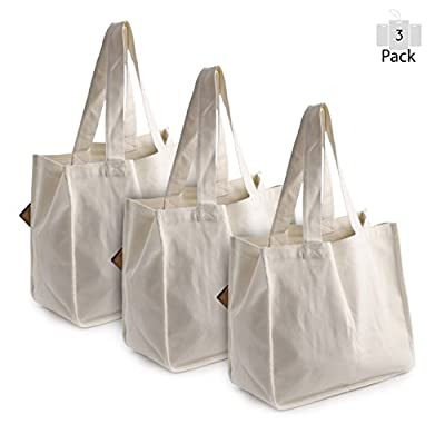 PreserveNext Deluxe Reusable Cotton Canvas Grocery Tote Bag with Bottle Sleeves – Natural (3 Pack)
