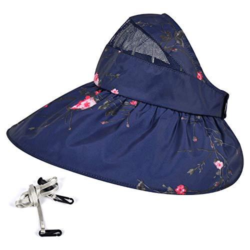 Nobrand Sonnenhut für Damen, Sommer, lässig, Hundertmuster, einfarbig, groß entlang der leeren Oberseite, Sonnenschutztuch, faltbar, UV-Schutz, Strandhut