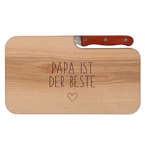 FORYOU24 Brotzeitbrett mit Messer und Gravur Motiv 07 - graviert mit -Papa ist der Beste- Schneidebrett aus Holz Geschenkidee zum Vatertag oder Geburtstag 26x15cm
