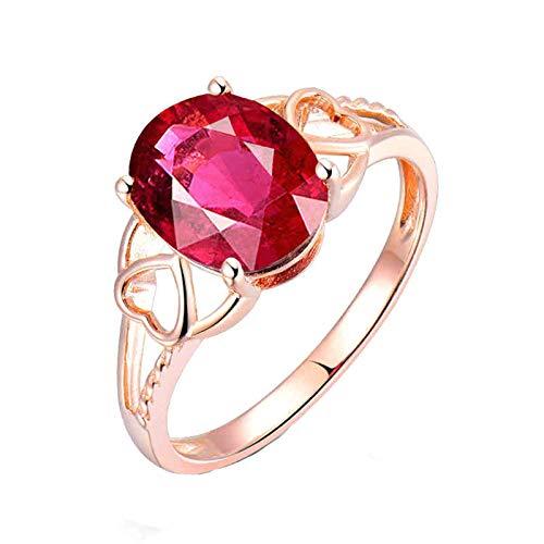 Daesar Anillos de Oro Rosa 18 Kilates Mujer,Oval con Corazón Hueco Turmalina Rosa Roja 2.6ct,Oro Rosa y Rojo Talla 9,5