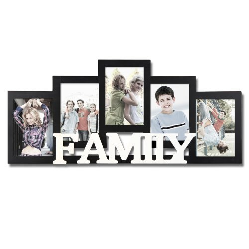 Adeco Decorative Black and White Wood Family Wall Hanging Picture Photo Frame, 5 Openings, 4x6
