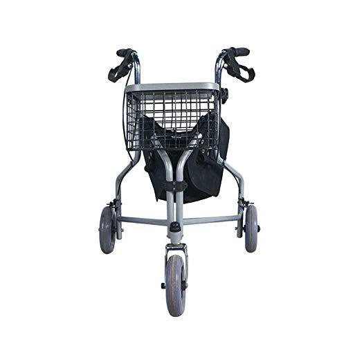XJZHAN Andador Plegable liviano Andador de Altura Ajustable Andador con Ruedas 3 Ruedas con Frenos de Bloqueo Carrito de Compras