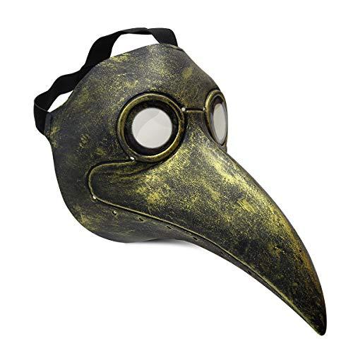 Townshine Plague Doctor Bird Mask Latex Long Nose Beak Cosplay Steampunk Halloween Mask Costume Props (Bronze-C)