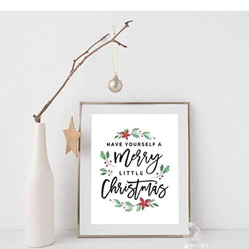 Terilizi kerstversiering Vrolijk kerstmis posterafdrukken maak jezelf een vrolijk kerstcitaat canvasfoto vakantie decor-40X50cm geen lijst