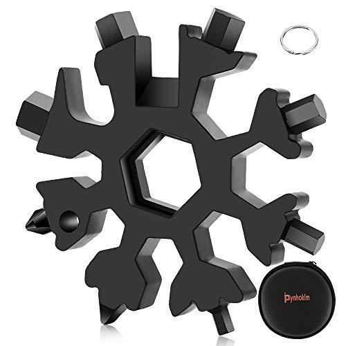 Schneeflocke Multi-Tool 18-in-1 Tragbares Edelstahl-Multifunktionswerkzeug, Schraubendreher Flaschenöffner Sechskantschlüssel handlich Gadget kleines Geschenk Weihnachtsgeschenke (schwarz)