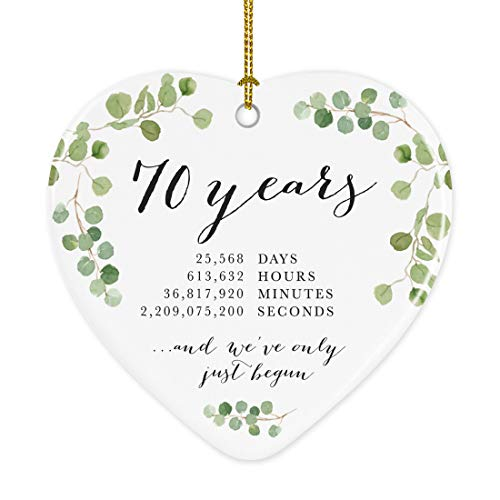 Andaz Press Heart Porcelain Ceramic 70th Wedding Anniversary Christmas Tree Ornament Gift, 70 Years, 25568 Days, 613632 Hours, 36817920 Minutes, 2209075200 Seconds, 1-Pack, Inc Gift Box