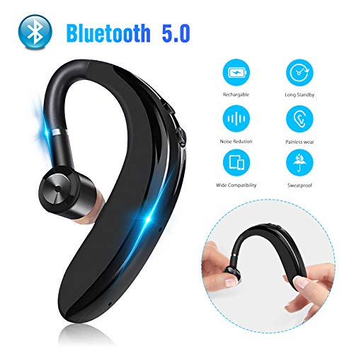 EEEKit Bluetooth 5.0 Bluetooth Earpiece Wireless Handsfree Headset 20 Hrs Driving Headset 180 Hours Standby Time with Noise Cancelling Mic Support Two Device for iPhone Android Truck Driver