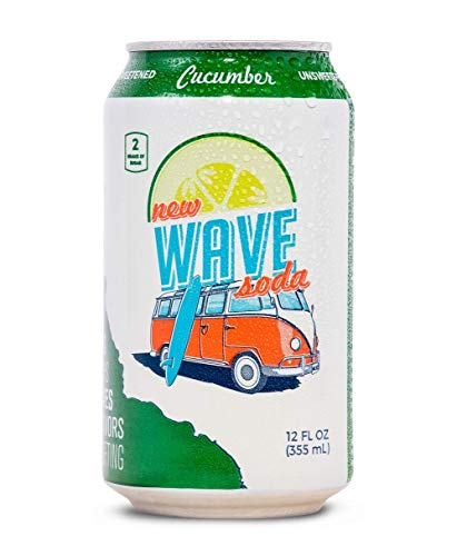 New Wave Soda Natural Soda Canned Fruit Juice, Cucumber, Healthy Soda Caffeinated Sparkling Water | Vegan, Keto, Gluten Free Soft Drink, No Added Sugar or Artificial Flavors, Recyclable, 12 Pack