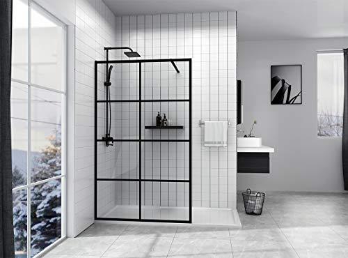 EMKE 90x200cm Walk in Duschwand Duschtrennwand 8mm ESG Nano Glas Walk-In Dusche Duschkabine Duschabtrennung