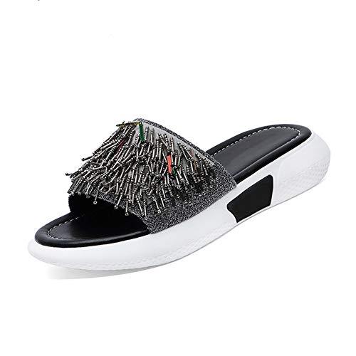 Wedsf Frauen Bequeme Plattform Sandale Sandalen Damenschuhe Sommer-Strand-Reise-Schuhe Fashion Sandal,Silber,37