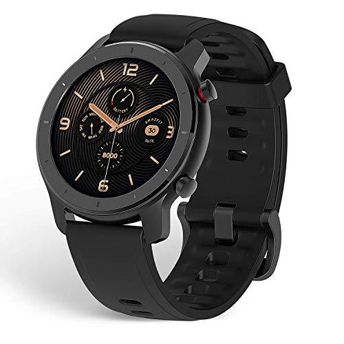 Amazfit Smartwatch GTR 42mm 1.2-Zoll Touch Control Farbdisplay Sportuhr Fitness Armbanduhr 5 ATM wasserdicht Stoppuhr mit GPS, Schrittzähler, Schlafmonitor, 12 Sportmodi für Damen Herren Sport