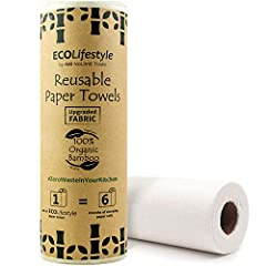 ♻️ REUSABLE & SUSTAINABLE ♻️ Each of the 20 bamboo paper towel sheets is washable in cold water by hand and reusable from 80 to 100 times. One roll of our paper towels will last you the equivalent of 3 to 6 months of bulk single-use kitchen rolls ♻️ ...