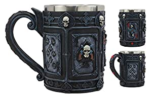 Ebros A Dead Man's Hand Casino Poker Cards Skull Face Drinking Coffee Mug 14oz Tankard Beer Cup Decor Of Gambling Pirate Skeletons Skulls Pokers Ace Of Spades Vegas Style Horror Mugs by Ebros Gift
