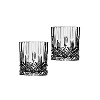 JUEQI Old Fashioned Style Whiskey Glasses (Set of 2) (Sea Fork Item, 3.62  H X 3.07  W)
