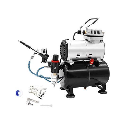 Ausuc エアブラシ コンプレッサー セット エアーブラシ スターティングキット エアーコンプレッサー 3Lタンク付 オイルレス エアコンプレッサー ホビー 塗装