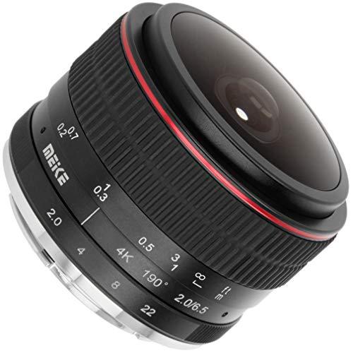 Meike Fisheye Objektiv Ultra-Weitwinkel für Canon M Systemkameras - 6,5mm Brennweite und F2.0 Blendenöffnung