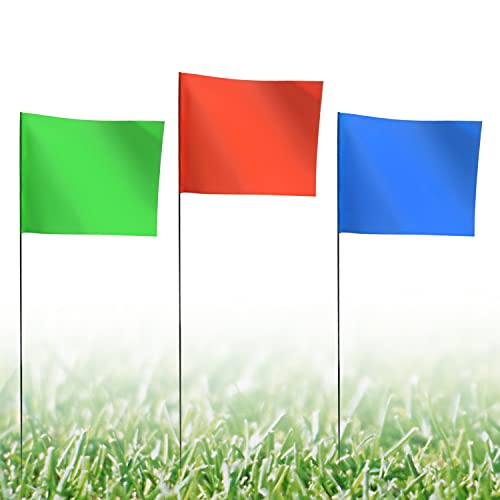 Marking Flags, Marker Flags for Lawn, 4x5 Inch   100 Pack Red&Green&Blue Landscape Flgs, Irrigation Flags, Lawn Flags,Yard Markers, Match with for Distance Measuring Wheel.