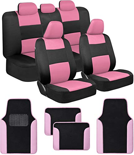 BDK Combo Car Seat Covers (2 Front 1 Bench) Auto Carpet Floor Mats (4 Set) with Heavy Protection Sleek Graphic Two Tone Fresh Design All Protective - Pink Accent