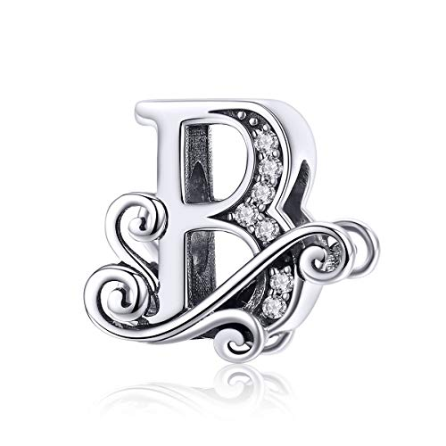 26 Letter Charms Alphabet Bead Sterling Silver Charms Fits for Pandöra European Bracelets Necklace (B)