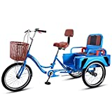 OHHG Triciclo Adultos Asiento Respaldo Ajustable Trike Bicicleta Bicicleta 20 Pulgadas Bicicleta Tres Ruedas IR Compras Picnic Deportes al Aire Libre Hombres Mujeres