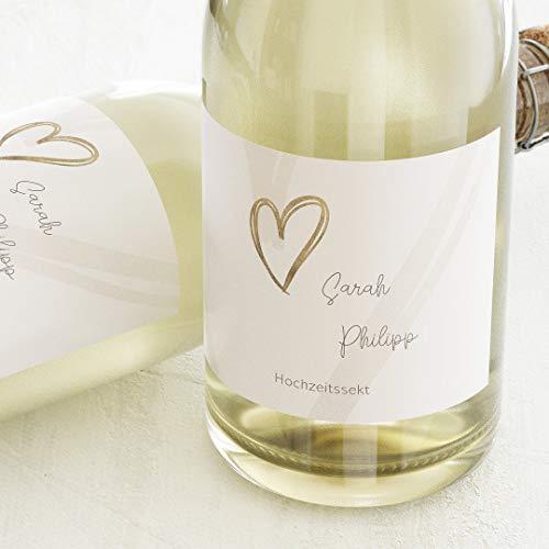 sendmoments Etiketten für Flaschen, Hearts, Sticker, selbstklebend, praktisch, individuell mit Wunschtext zur Hochzeit, für Sektflaschen, als Tischdekoration, Querformat, ab 10 Stück