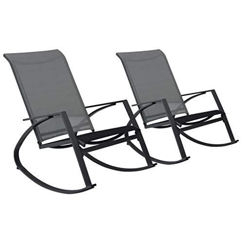 Extaum Garten-Schaukelstühle 2 STK Schaukelstuhl-Set Relaxstuhl Witterungsbeständig Atmungsaktiv Textilene 98,5 x 60,5 x 97 cm Dunkelgrau