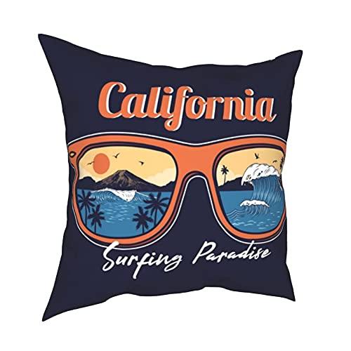 Funda de Almohada Fundas de Almohada 45x45cm Gafas de Sol de Verano Reflectante Ola oceánica Mar Playa Surfing Paradise Decoración para decoración del hogar Oficina Sofá Holiday Bar Café Boda Coche