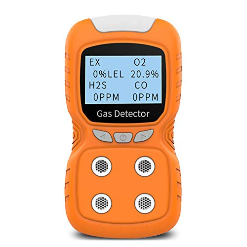 XLA Alert Portable Gas Detector, Gas Clip 4 Gas Monitor Meter Tester Analyzer, Rechargeable LCD Display Sound Light Shock Air Quality Tester, 2 Year Detector…