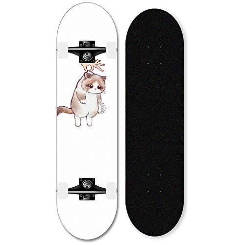 31 x 8 Zoll Ahorn Deck Cruiser 7-lagiges konkaves Skateboard für Erwachsene, Jugendliche, Kinder, Jungen und Mädchen-Katze_