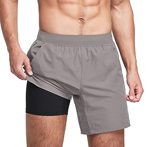 BALEAF Pantalones cortos de entrenamiento 2 en 1 para hombre, de 7 pulgadas, con...