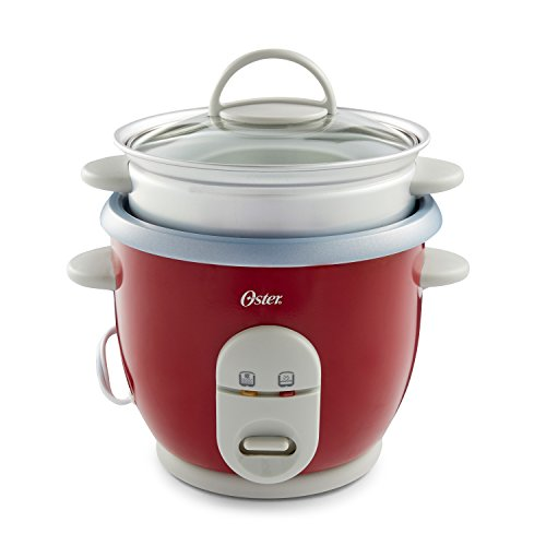 Oster 6-Cup Rice Cooker with Steamer, Red...