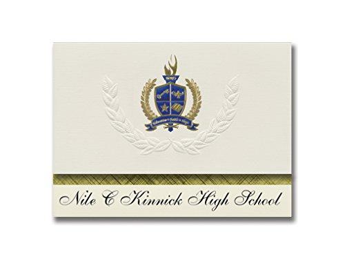Signature Announcements Nile C Kinnick High School (Fpo, AP) Graduierung Ankündigung, Presidential Style, Basic Paket von 25 mit Gold & Blau Metallic Folien-Siegel