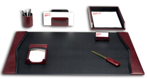 Dacasso modernes Schreibtisch-Set, Burgund, 7-teilig
