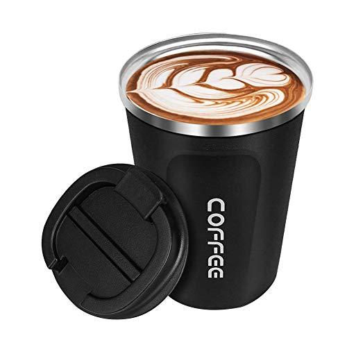 tianxiangjjeu Tazas De Café Expreso Viaje Oficina Coche Tazas De Bebida Taza De Café De Vacío Térmica De Acero Inoxidable Taza De Leche Con Tapa Negro 380ml