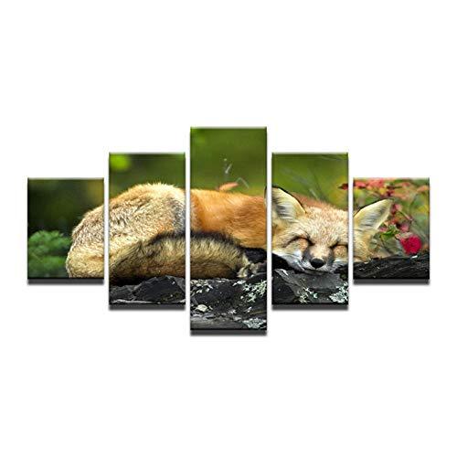 Jbwlkj 5 Dipinti su Tela Quadro su Tela Immagini Quadro 5 Pezzi Animali Volpe Foresta Paesaggio Complementi arredo casa Pittura ad Alta Definizione Poster Stampe su Tela