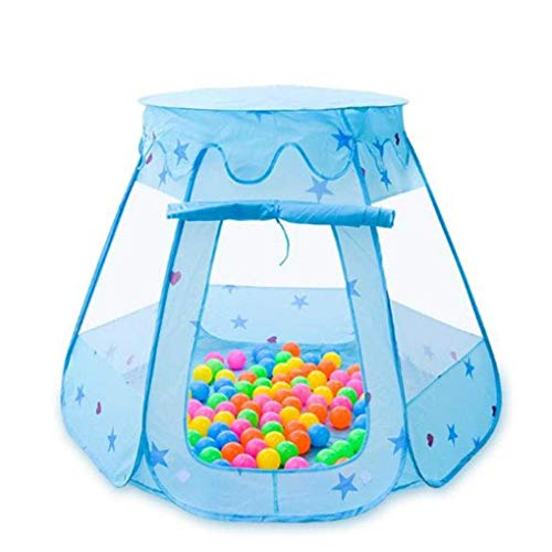 RONGJJ Foldable Kids Pit Pool Toys Outdoor And Indoor Baby Toys Tent Baby Girls Fairy House Play Cottage Tent Princess Game Tent-Blue, Blau