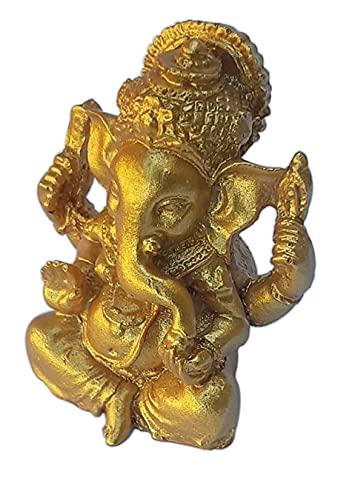 Ganesh Mini Amuleto de la Suerte. Ganesha Figura Dorada Pop Art Decoracion. El Dios Elefante, Talismán para Inteligencia, sabiduría, Caminos y Letras. Resina Pintada a Mano. Miniatura Estatua H 5 cm
