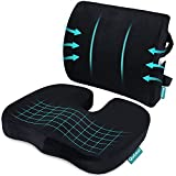 Coccyx Orthopedic Seat Cushion and Lumbar Support Pillow for Office Chair Memory Foam Car Seat Cushion with Washable Cover Ergonomic Desk Chair Cushion for Tailbone, Lower Back Pain, Sciatica Relief