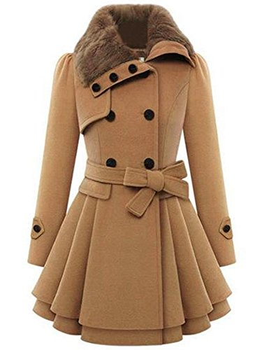 Zeagoo Women Long Sleeve Faux Fur Lapel Double-Breasted Thick Wool Coat, Small, Camel, Camel, Small