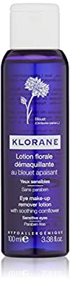 Klorane Floral Lotion Eye Make-up Remover with Soothing Cornflower for Sensitive Skin, Oil, Frangrance and Sulfate Free
