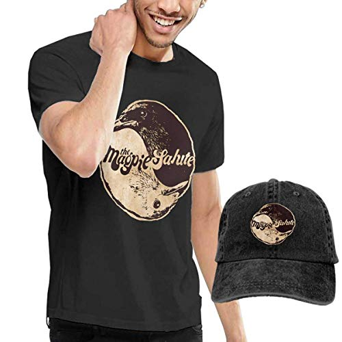 SOTTK Camisetas y Tops Hombre Polos y Camisas,The Magpie Salute T Shirts Men's Cotton Short Sleeve T-Shirt with Baseball Cap