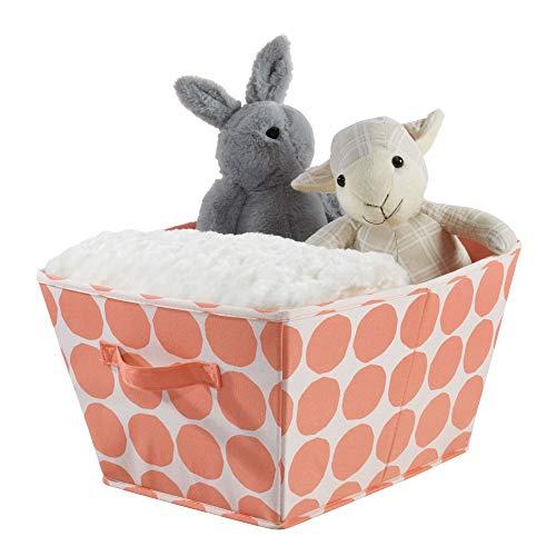 iDesign Canvas opbergdoos, medium opvouwbaar speelgoeddoosje gemaakt van katoen/polyester mix met 2 handgrepen, polka dot stof doos voor de kast, slaapkamer en kinderkamer
