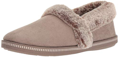 Skechers Women's Cozy Campfire-Team Toasty-Microfiber Slipper with Faux Fur Lining, dark taupe, 5 M US