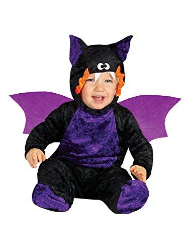 Guirca - Disfraz de murciélago de vampiro para niño, 0/12 meses, color negro y morado, 0-12, 85535