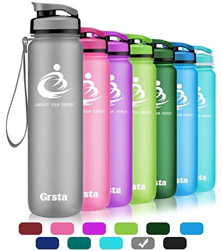 Grsta Bottiglia d\'Acqua Sportiva - 28oz-800ml Borraccia Sportiva, a Prova di perdite, Riutilizzabile Senza BPA tritan plastica Detox Bottiglie Acqua per Palestra, Sport, Yoga, la Corsa (Grigio)
