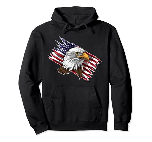 Águila calva patriótica   Orgulloso pájaro americano de presa Sudadera con Capucha