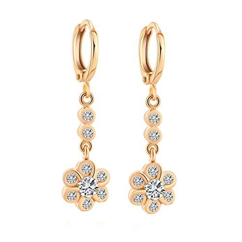 Yazilind oro 18K plateado cuelga los pendientes de aro circonio cúbico pendientes de flores con encanto para la Mujer