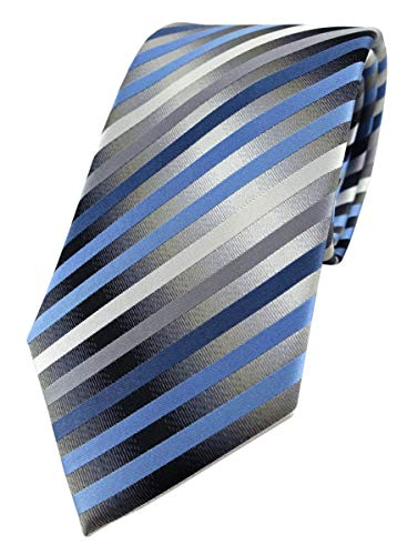 TigerTie Designer Seidenkrawatte in blau anthrazit grau silber gestreift - Krawatte 100% Seide